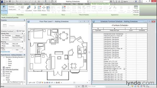Adding schedule views: Revit Architecture 2016 Essential Training (Imperial)