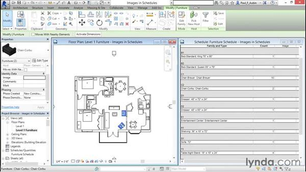 Using images in schedules: Revit Architecture 2016 Essential Training (Imperial)