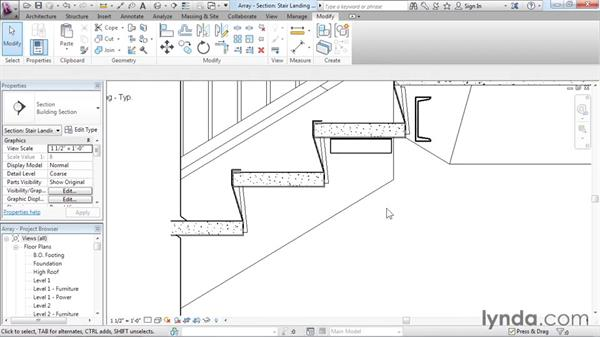 Using arrays to parametrically duplicate objects: Revit Architecture 2016 Essential Training (Imperial)