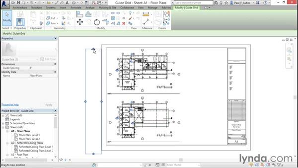 Aligning views with a guide grid: Revit Architecture 2016 Essential Training (Imperial)