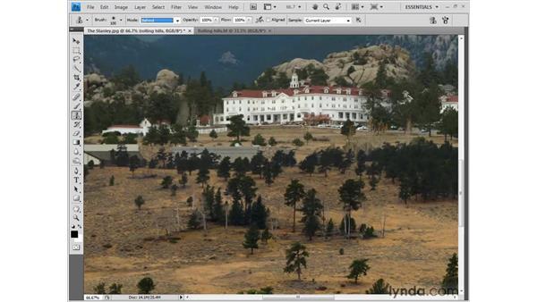 Cloning away unwanted details: Photoshop CS4 One-on-One: Fundamentals