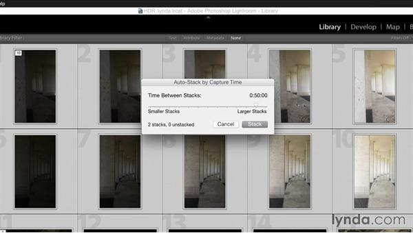 Automatically stacking HDR images based on shoot time: Creating High-Dynamic Range (HDR) Photos with Lightroom