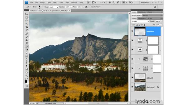 Creating a dark and stormy sky: Photoshop CS4 One-on-One: Fundamentals