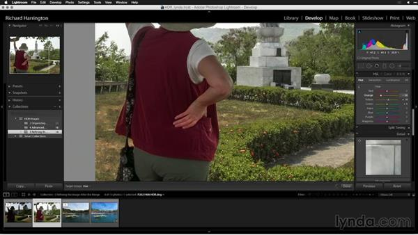 Using the HSL controls to remove color cast: Creating High-Dynamic Range (HDR) Photos with Lightroom