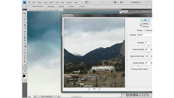 Reducing the noise in the sky: Photoshop CS4 One-on-One: Fundamentals