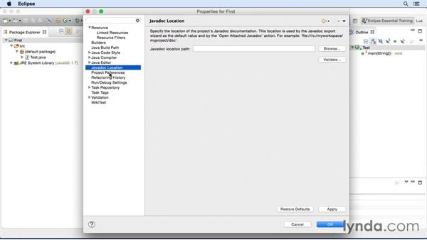 Adjusting project-specific settings: Eclipse Essential Training