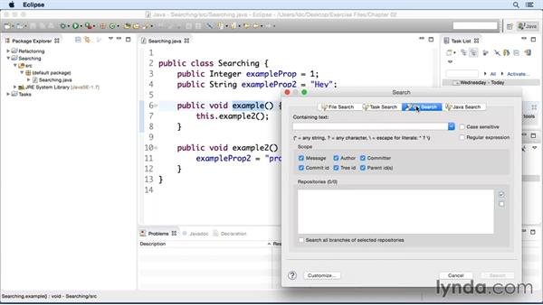 Searching for methods and variables: Eclipse Essential Training