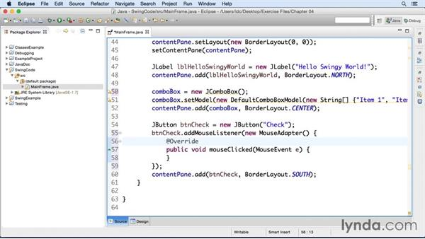 Connecting swing elements to code: Eclipse Essential Training