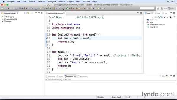 Debugging a C++ app: Eclipse Essential Training