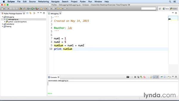Debugging a Python app: Eclipse Essential Training