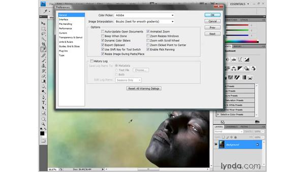 Setting general preferences: Photoshop CS4 One-on-One: Fundamentals