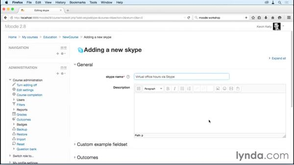 Facilitating interaction via Skype: Moodle Advanced Techniques