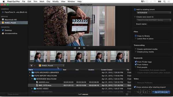 Importing files into Final Cut Pro 10.2: Final Cut Pro X Guru: Multicamera Video Editing