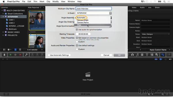 Creating a multicam clip and exploring menu options: Final Cut Pro X Guru: Multicamera Video Editing