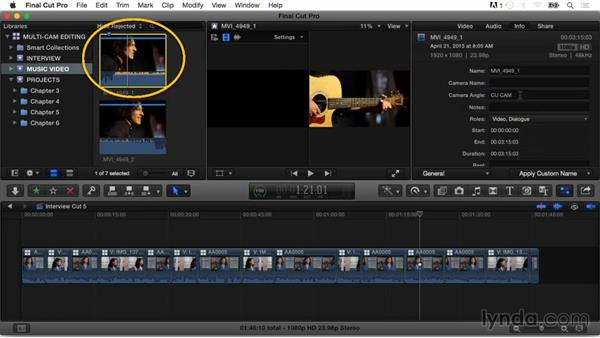 Creating a multicam clip using angle assembly, markers, and audio sync: Final Cut Pro X Guru: Multicamera Video Editing