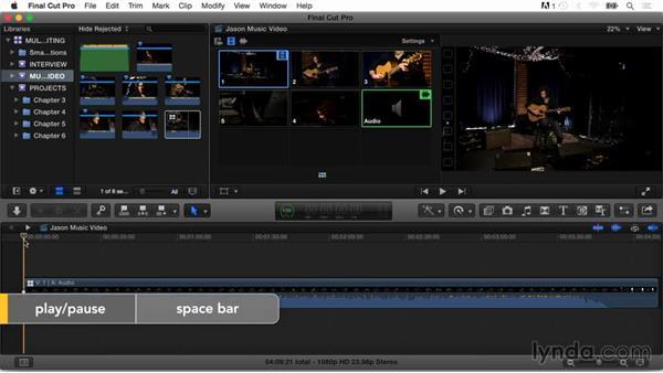 Editing a multicam music video using keyboard shortcuts: Final Cut Pro X Guru: Multicamera Video Editing