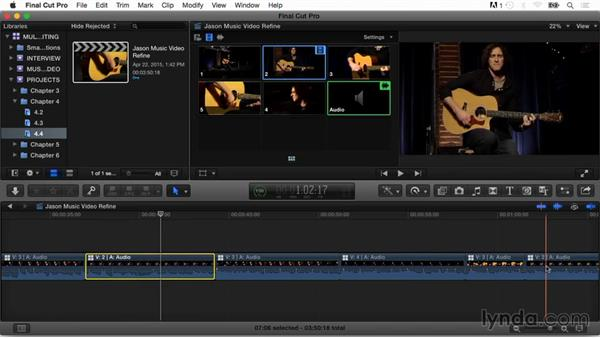 Switching multiple angles and fine-tuning the edit: Final Cut Pro X Guru: Multicamera Video Editing