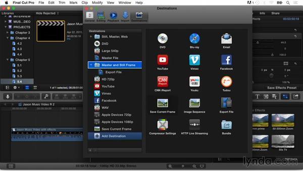 Exporting options: Final Cut Pro X Guru: Multicamera Video Editing