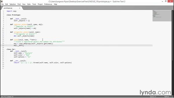 Prototype example: Design Patterns with Python