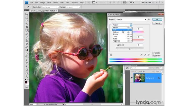 Adjusting hues selectively: Photoshop CS4 One-on-One: Fundamentals