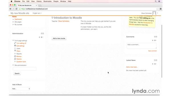 Customizing your dashboard: MoodleCloud: First Look