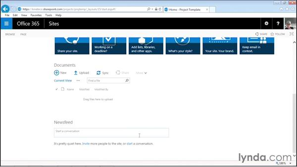 Creating a project site: Managing Projects with SharePoint 2013