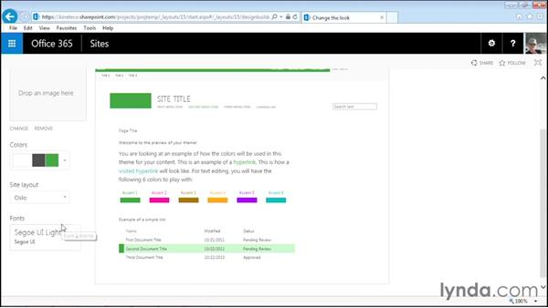 Changing the site theme: Managing Projects with SharePoint 2013