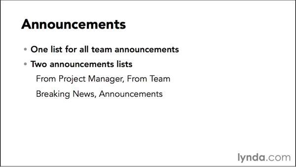 Adding an announcements app: Managing Projects with SharePoint 2013