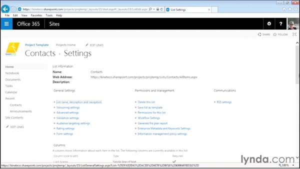 Adding and customizing a contact app: Managing Projects with SharePoint 2013