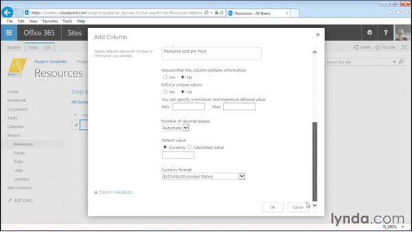 Creating a custom resource list: Managing Projects with SharePoint 2013