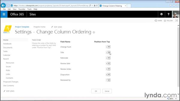 Customizing the project change list: Managing Projects with SharePoint 2013