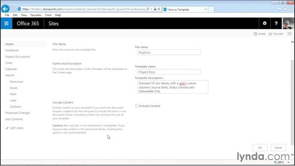 Saving a library as a template: Managing Projects with SharePoint 2013