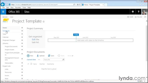 Editing the navigation links and title: Managing Projects with SharePoint 2013