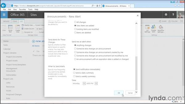 Setting alerts: Managing Projects with SharePoint 2013