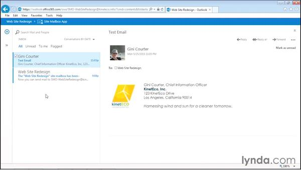 Configuring and using a site mailbox: Managing Projects with SharePoint 2013