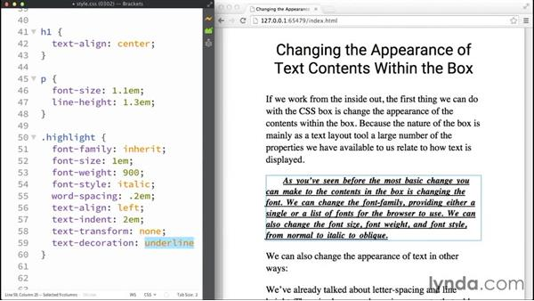 Changing the contents within the box: Making Sense of the CSS Box Model