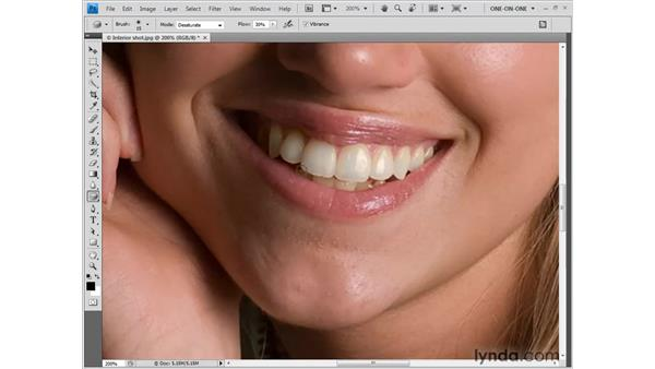 Brightening yellow or dingy teeth: Photoshop CS4 One-on-One: Fundamentals