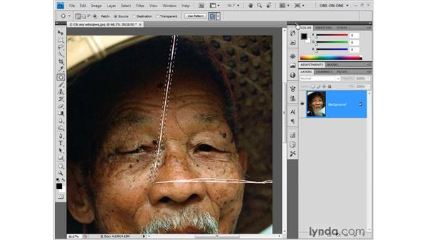 Using the Patch tool: Photoshop CS4 One-on-One: Fundamentals