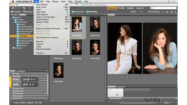 Opening multiple photographs from Bridge: Photoshop CC for Photographers: Camera Raw 9 Fundamentals