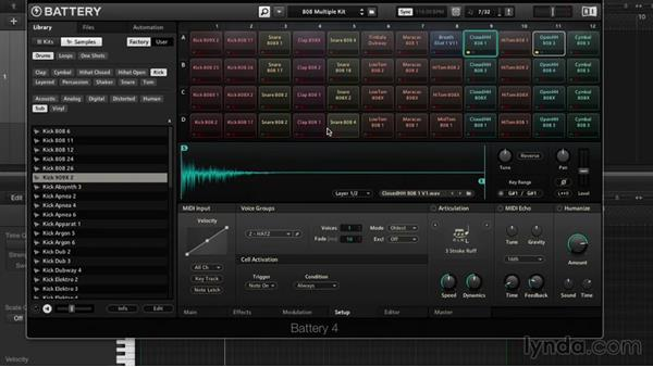 MIDI setup and voice groups: Drum Programming and Sampling with BATTERY