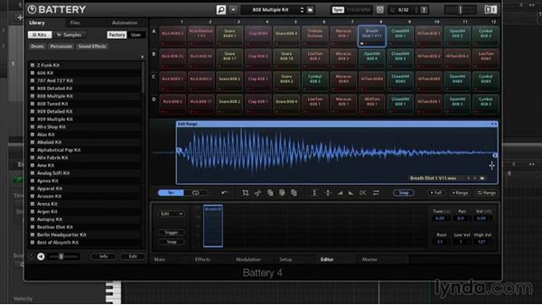 Sample editing and looping: Drum Programming and Sampling with BATTERY