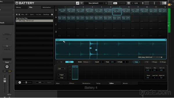 Loop playback and slicing: Drum Programming and Sampling with BATTERY