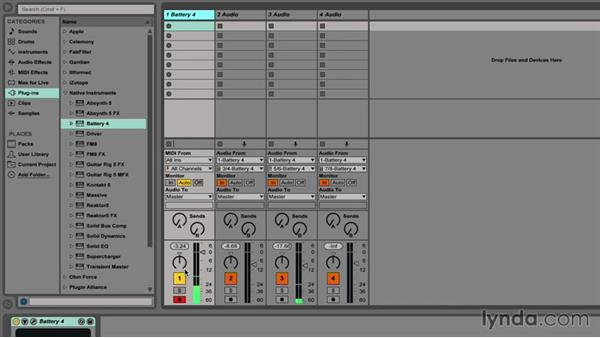 Bussing and stemming in Ableton Live: Drum Programming and Sampling with BATTERY