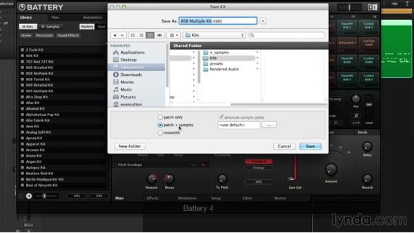Saving and exporting: Drum Programming and Sampling with BATTERY