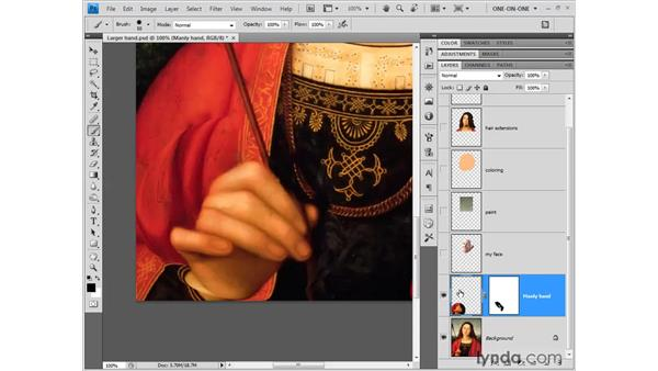 Erasing with a layer mask: Photoshop CS4 One-on-One: Fundamentals
