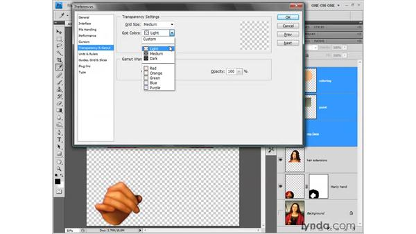 Customizing the transparency grid: Photoshop CS4 One-on-One: Fundamentals