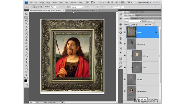 Revealing oversized layers: Photoshop CS4 One-on-One: Fundamentals
