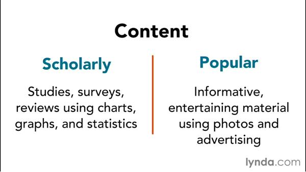 Scholarly vs. popular publications: Information Literacy