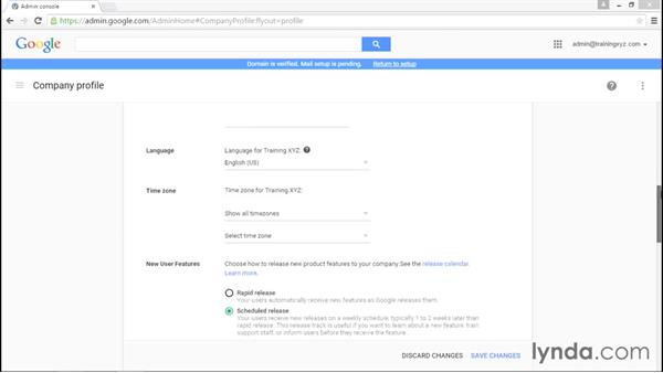 Setting up your company profile: Administering Google Apps