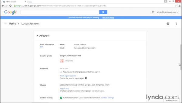 Viewing user profiles: Administering Google Apps